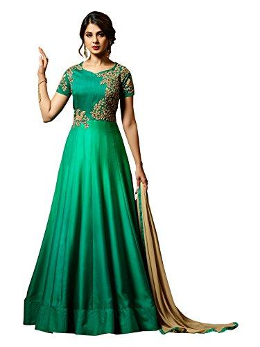 Radhe Fashion Latest Mazik Silk Green Party Wear Anarkali Salwar Kameez( F1153_Green)