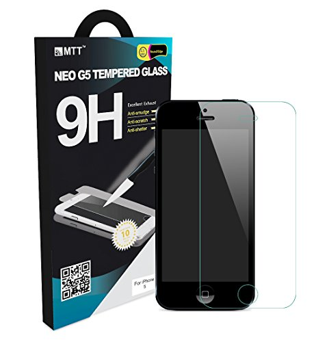 MTT Tempered Glass Screen Protector Guard for Apple iPhone 5 5C 5S