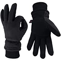 OZERO Winter Gloves,Windproof Leather Thermal Gloves with Anti-skid Deer Suede Palm and Knitted Cuff for Warm Winter,Excellent for Cycling,Driving,Running,Ski,Mens and Womens,1 Pair