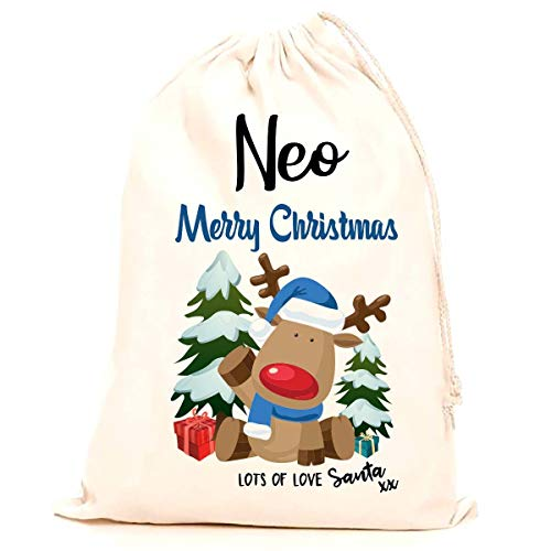 b4d3d5b609 Treat Me Suite Neo personalised name Christmas santa sack, stocking printed  with a blue reindeer