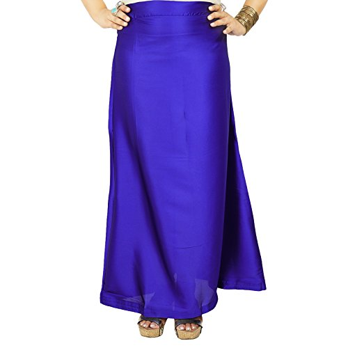 Indiano Gonna in satin di seta Bollywood Solid Inskirt fodera per sari regalo per lei Blue