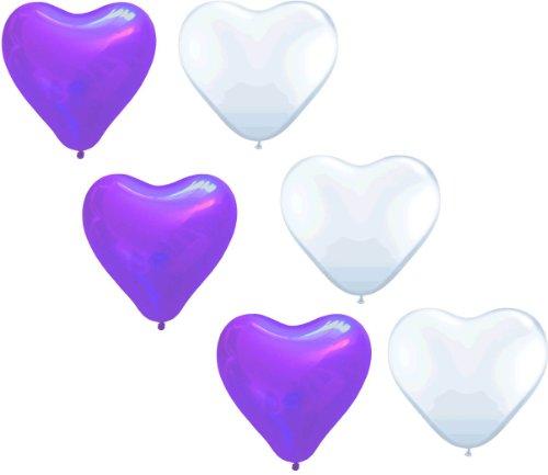 (50 große Herzballons lila und weiß Luft und Ballongas geeignet EU Ware)