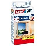 tesa Fliegengitter für Fenster, beste tesa Qualität, weiß, leichter Sichtschutz, 1,20m x 2,40m anthrazit