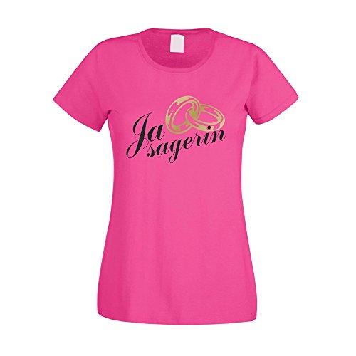 T-Shirt Damen - Ja Sagerin - von SHIRT DEPARTMENT weiss-schwarz