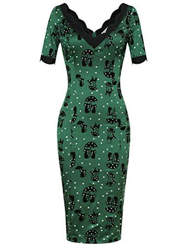 MUXXN Damen Bodycon Kleider Freizeit 3/4-Arm V-Ausschnitt Party Bleistift Kleid(M, Green Cat)