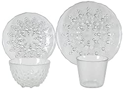 AB Home 4-Piece Clear Glass Dinnerware Plate Bowl Cup Set