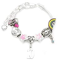 Girl's Unicorn Themed Silver Plated Birthday Charm Bracelet with Gift Box and Unicorn Insert - Ages 1- 11 Available (10th Birthday)