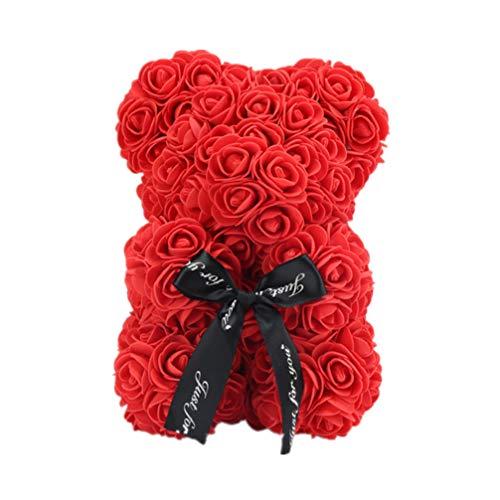 LIOOBO Ours Rose - Amour Mignon Rose Ours en Peluche Fleur Ours pour Mariage Graduation Anniversaire Anniversaire Cadeau de Saint Valentin - Rouge