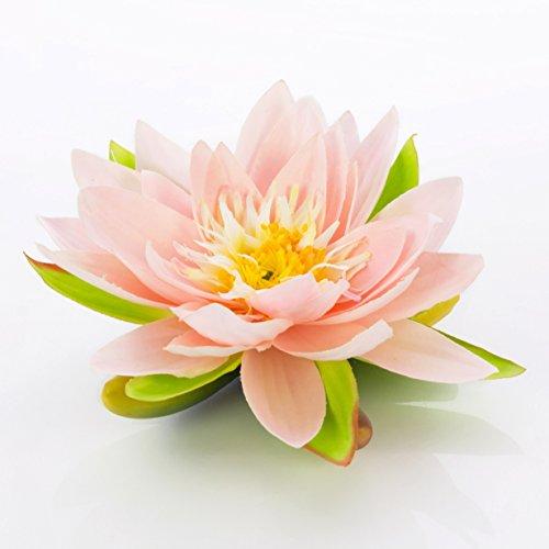 artplants Textil-Seerose Sanjana, schwimmend, rosa, Ø 16 cm - künstliche Lotusblüte/Kunstblume