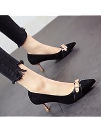 FLYRCX Unión personalidad de la moda primavera y verano fino TALÓN TALÓN alto suede superficial zapatos de trabajo...