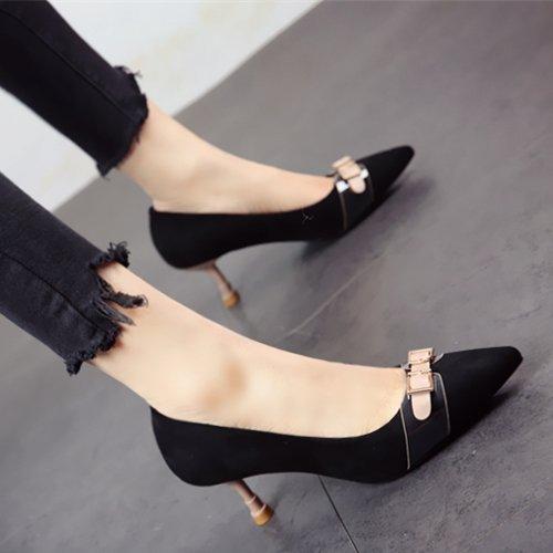 FLYRCX Europäische Mode Persönlichkeit Frühling und Sommer feine heel High heel pumps flachen Arbeitsschuhe Schuh lady party Schuhe, 38, ein