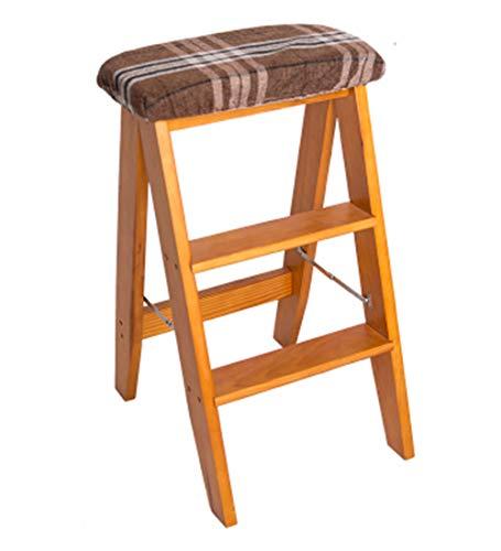 ANHPI Echelle Pliante Multifonction Double Usage3 Marches Hauteur 61cm, Chaise De Bar De Cuisine pour La Maison Unilateral, Bois Massif, 12 Styles,Yellowwalnut-#4