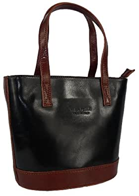 Genuine Italian Leather, SMALL Black and Brown 2 tone Tote, Handbag or Shoulder Bag. Includes a Protective Dust Bag.