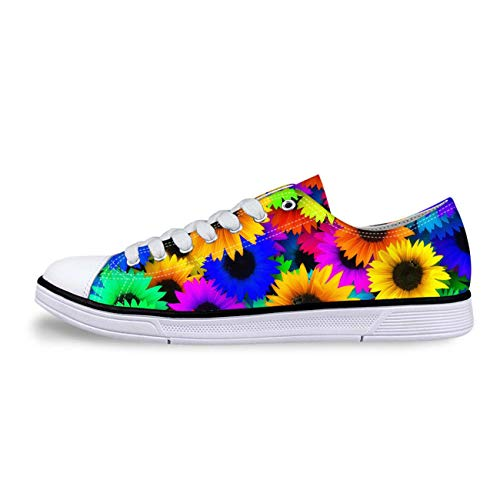 Animal Low Top Canvas Shoes for Women's Fashion Casual Pug Casual Shoes Sneakers 5 Multi Flower 10 -