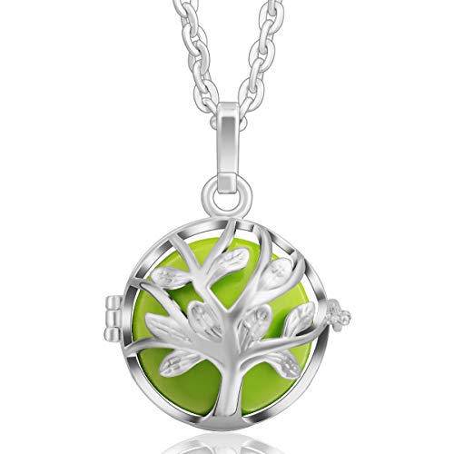 EUDORA Harmony Ball Baum des Lebens Anhänger, Engel Anrufer Anhänger Halskette, Bola Klangkugel Kette Schmuck für Mädchen Mutter Tochter Frauen Lehrer Anker Bestes