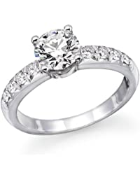 1 ctw. Round Diamond Solitaire Engagement Ring in 18k White Gold (SI2 Clarity)