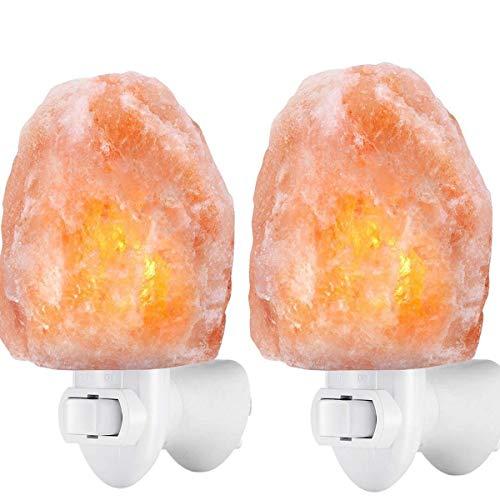 2 pacchi Lampada di sale Salgemma dell\'Himalaya Aria Purificata Curativo Radiazioni Ionizzanti, lampada da parete con spina USB [Classe di efficienza energetica A+++]