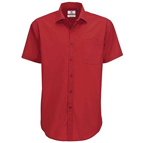 B&C Collection Mens Smart Short Sleeve Work Shirt Deep red