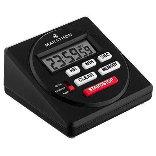 Marathon ti080001großes Digital 24Stunde Timer mit Countdown, zählt Rückwärts und Uhr Funktion–inklusive Batterien schwarz