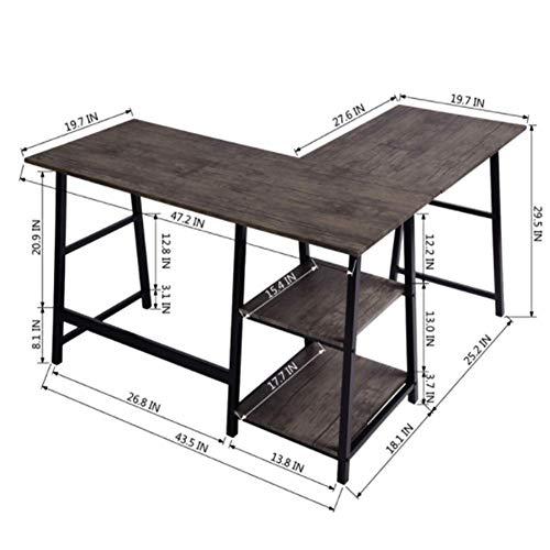 LARRY SHELL L-förmiger Schreibtisch, Eckcomputertisch, PC Laptop Arbeitszimmer Schreibtisch Arbeitsstation Einfaches modernes Design Einfache Montage für das Büro zu Hause - L-förmigen Schreibtisch Aus Holz