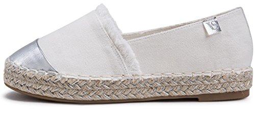 AgeeMi Shoes Damen Slip On Rund Zehe Espadrilles Flache Loafers Sneaker Schuhe Weiß