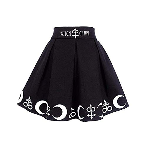 Mini Frauen Gothic Punk Witchcraft Mond Zaubersymbole Plissee Mini Rock (Im Schuluniform Karo-rock)