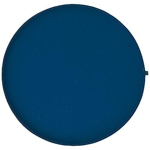ebos Wollfilz Sitzkissen rund, Ø40 cm ✓ handgefertigt ✓ 100% Wollfilz ✓ Dünn & bequem | Hochwertiges Stuhlkissen, Sitzpolster mit Füllung | Schönes Stuhl-Polster, Filz-Kissen | Robustes Outdoor-Kissen, wasserabweisende Stuhl-Auflage (Jeansblau / Hellgrau)