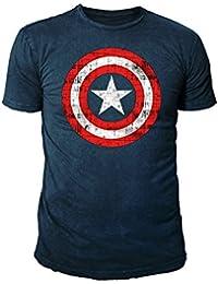 Marvel Comic - Captain America Herren T-Shirt - Logo (Navy) (S-XL)