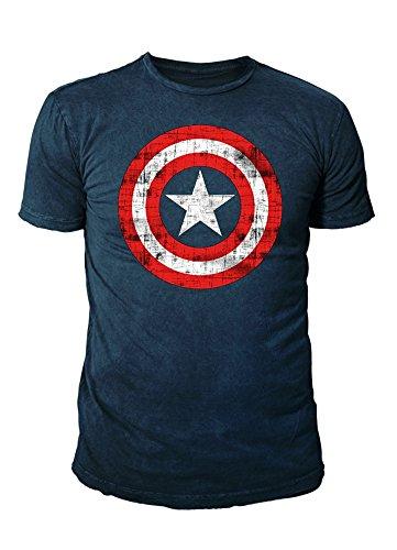Marvel Comic - Captain America Herren T-Shirt - Logo (Navy) (S-XL) (L)