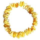 Caramelo/Milky/blanco de ámbar Báltico chips/pulsera de perlas. Genuino de ámbar báltico