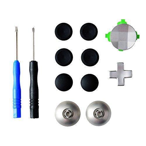 Gam3Gear 11 in 1 Metall-Legierung Analog Thumbstick D-Pad Directional-Tasten-Set für XBOX Ein Elite-Controller mit Tool öffnen (Xbox One Controller-tasten Metall)