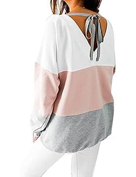 Keephen Camisetas de manga larga de las mujeres Tops, sudadera ocasional Sudadera de la raya floja Blusas atractivas...