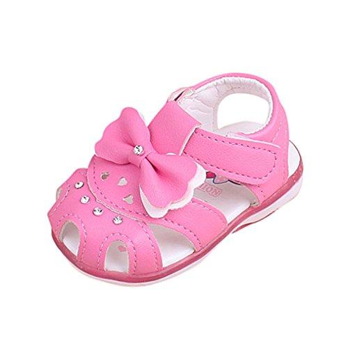 FNKDOR Baby Mädchen Sandalen Babyschuhe LED Licht Leuchten Leuchtende Bowknot Schuhe(24 Monate / 13 cm,Rosa)