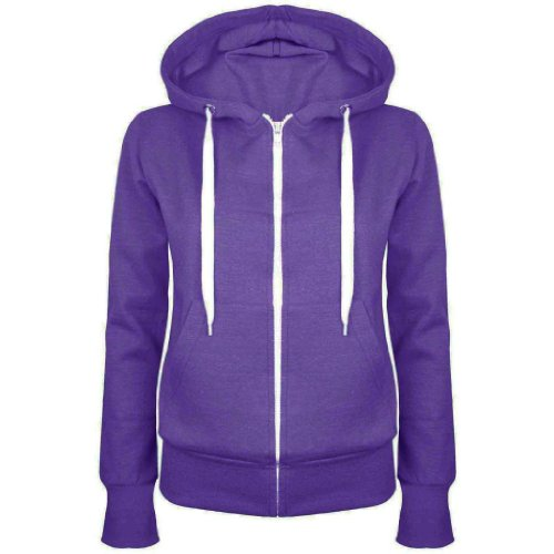 Up Town New Womens Ladies Plain Hoody Girls Zip Lace Top Hoodies Jacket Sweatshirt Top : Color - Purple : Size - 8