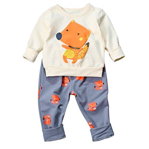 PanDaDa Säugling Kleinkind Baby Boys Girs Cartoon Fox Gedruckt Pullover Tops + Pants Outfits (Hoodie Gir)