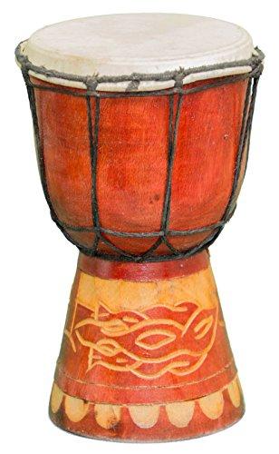 Kascha - 20cm Kinder Djembe Trommel Bongo Drum Buschtrommel Afrika-Style handgeschnitzt aus Mahagoni Holz Gecko