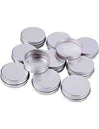 Sumind 15 ml Aluminium Schraube Döschen Töpfe Kosmetik Makeup Krug Runde Creme Container, 10 Stück, Silber Farbe