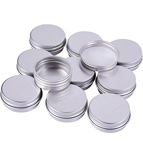 Sumind 15 ml Aluminium Schraube Döschen Töpfe Kosmetik Makeup Krug Runde Creme Container, 10 Stück, Silber Farbe Aluminium-krug