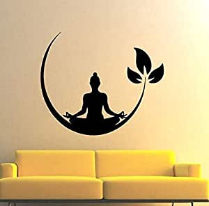 Creatick Studio Meditating Buddha Floral Wall Sticker PVC Vinyl Standard Size - 117cm X 100cm Color-Multicolor,