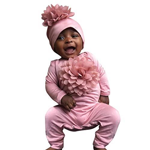 Baumwolle Gestickte Tasche (LSAltd Kleinkind Baby Kinder mädchen Jungen Mode schöne einfarbig 7d Blume Langarm Strampler + Cap Baumwolle Outfit Set)