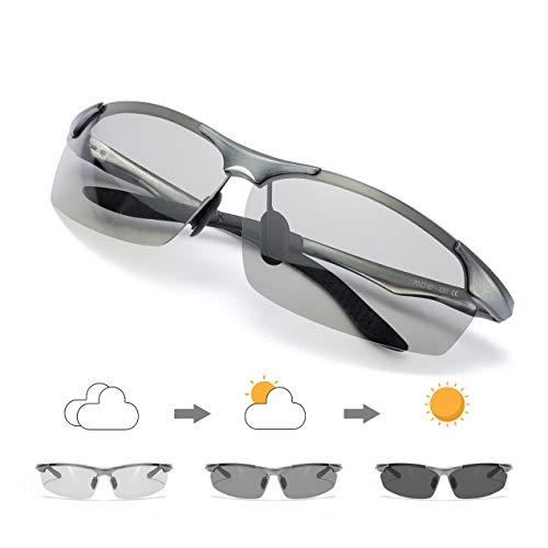 Enafad Photochromic Sunglasses Herren Unbreakable Metal Frame - Sonnenbrille Herren Polarized 100% UVA- und UVB-Schutz (Schwarz)