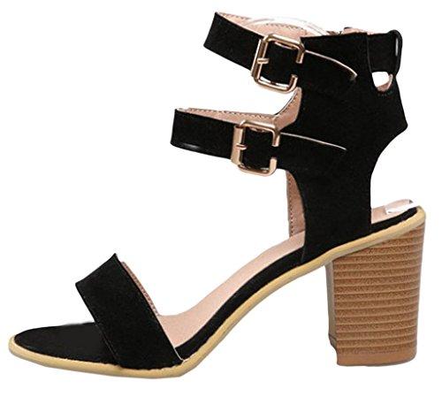 Y-BOA 1 Paire Sandales à Talon Haut Bloc Cheville Chaussures Été Femme Lanières Similicuir Nubuck Noir
