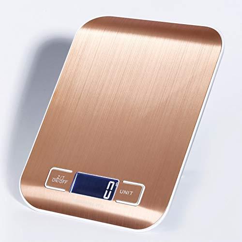 Digitale Küchenwaage Elektronische Waage Große Wägefläche Beleuchtung LCD-Monitor Schwarzschale Gold Waagschale 5kg / 1g