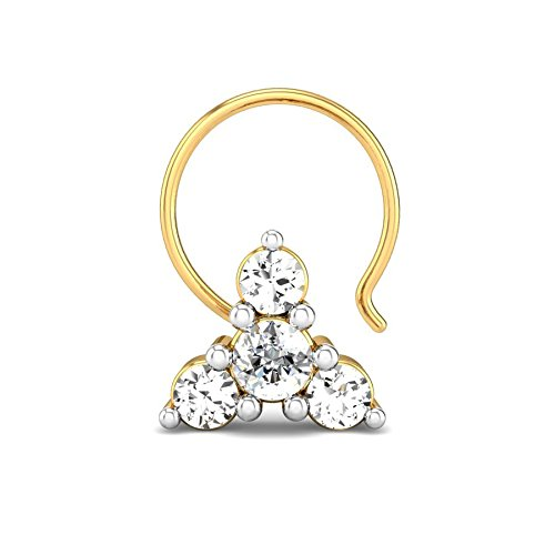 Candere By Kalyan Jewellers Aagam 18k Yellow Gold and Diamond Nosepin