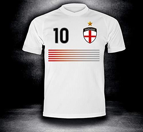 ElevenSports England Trikot Set 2018 mit Hose GRATIS Wunschname + Nummer im EM WM Weiss Typ #EN45th - Geschenke für Kinder Erw. Jungen Baby Fußball T-Shirt Bedrucken