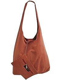 c153b090dc982 Freyday Damen Ledertasche Shopper Wildleder Handtasche Schultertasche  Beuteltasche Metallic look