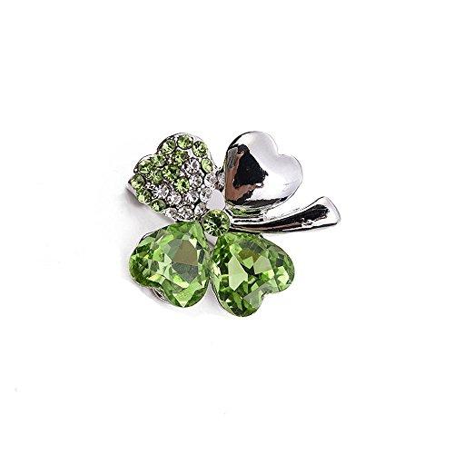 (Ludage Lady Retro olivgrün vierblättrigen Rasen Diamant Brosche Brosche)