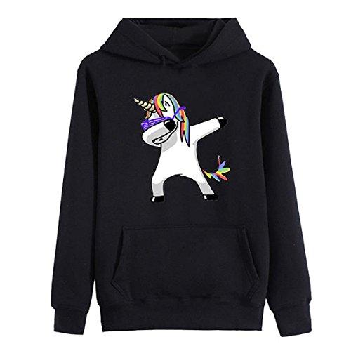 Inception Pro Infinite Sweatshirt - Hood Pockets - Print - Einhorn - Farbe - Schwarze Mädchen - Kleine Mädchen - Idee - Geschenk - Cosplay - (Größe - M) (Cosplay Ideen Für)