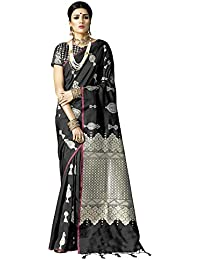 Akhilam Women's Banarsi Silk Blend Saree With Blouse Piece (KNTKLS silk saree_MULTICOLORED)
