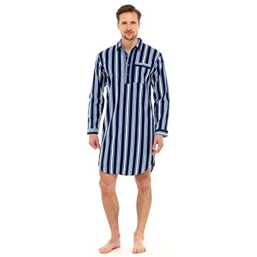 Herren Nachthemd Traditioneller Flanell Schlafanzug Pyjama Aus Baumwolle - Marineblau, XL -